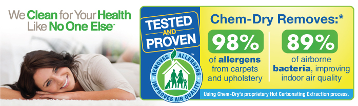 Research results Chem-Dry removes an average of 98.1% of allergens from the carpets and upholstery