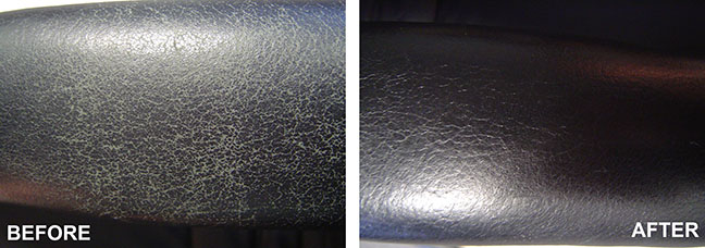 Before and after picture of leather furniture cleaned