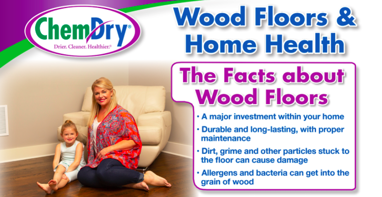 A picture explaining the facts about wood floors and how they trap dirt, allergens and bacteria in the grain of the wood.