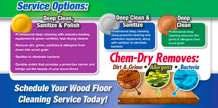 Wood floor cleaning options. Deep Clean  Deep Clean and sanitise  Deep clean, sanitise and polish