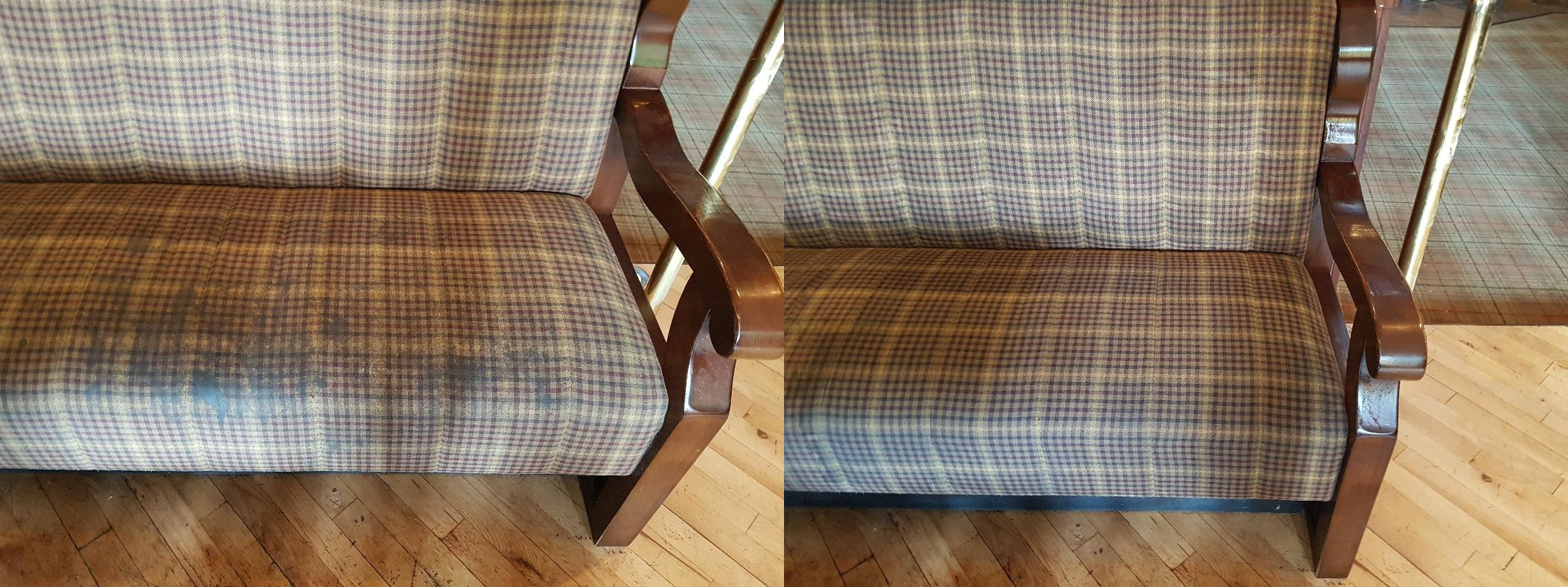 Before and after picture of upholstery been cleaned