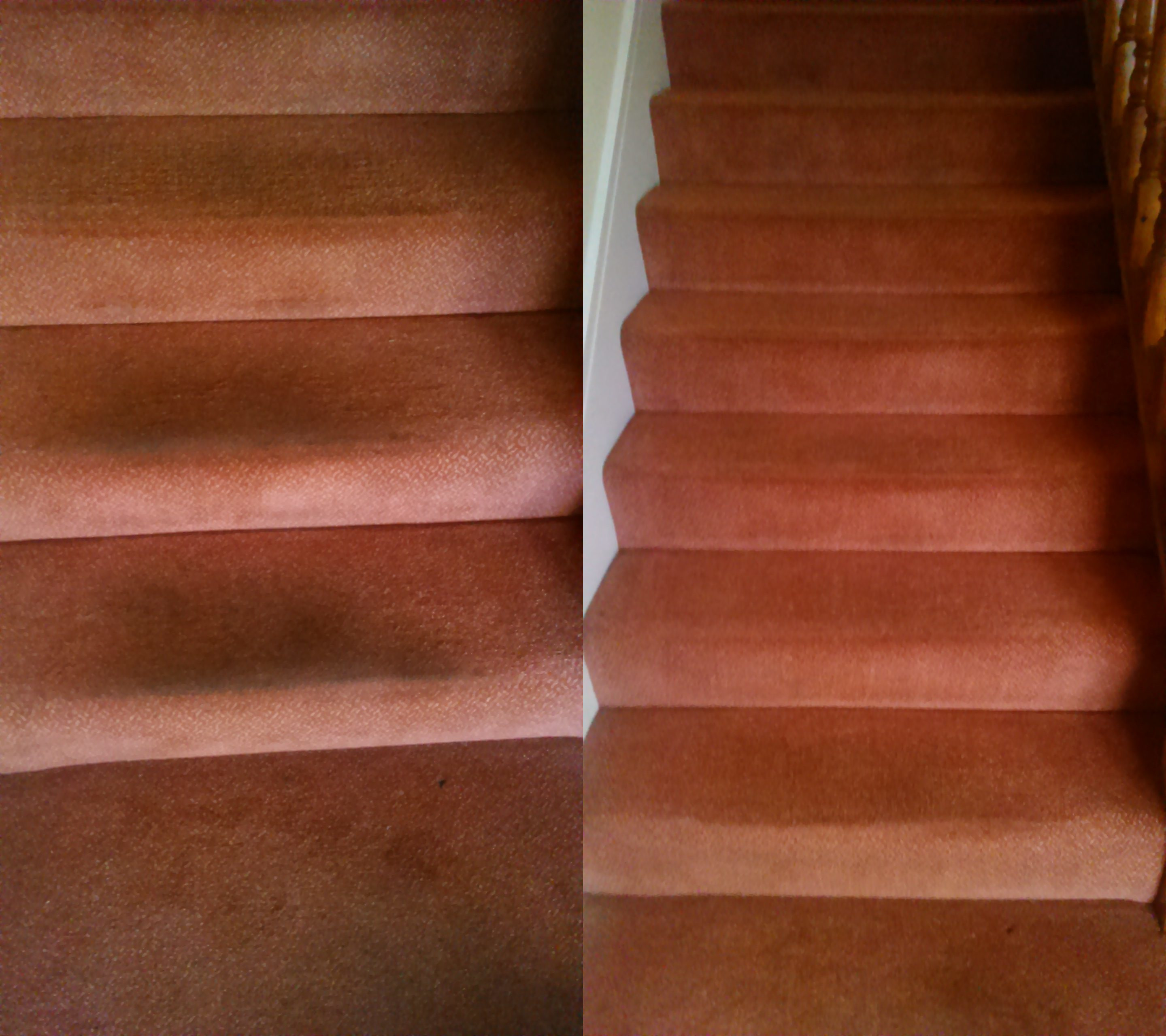 Before & after pictures of a stairs carpet been cleaned in Saggart Co Dublin