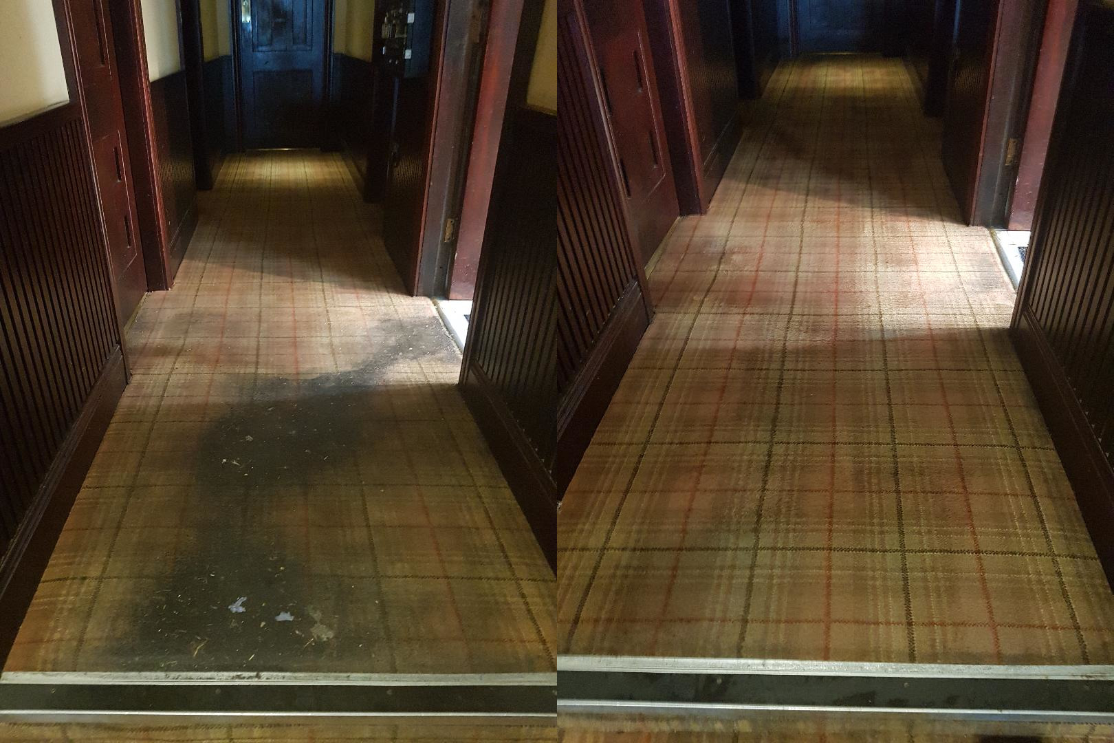 Before & after Picture of a dirty carpet been cleaned