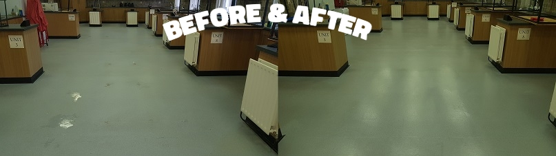Before and after pictures of a marmoleum/linoleum floor